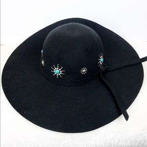 Accessories - Black Wool Hat with Turquoise and Silver Decor